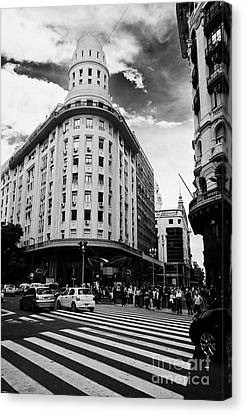 Edificio Bencich And South End Of Florida Street Downtown Buenos Aires Argentina Canvas Print by Joe Fox