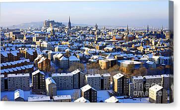 Canvas Print featuring the photograph Edinburgh Winter Cityscape by Craig B