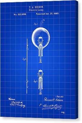 Old Light Bulb Canvas Print - Edison Light Bulb Patent 1880 - Blue by Stephen Younts