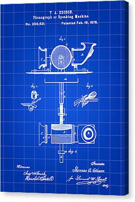 Edison Phonograph Patent 1878 - Blue Canvas Print by Stephen Younts
