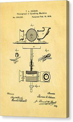 Edison Phonograph Patent Art 1878 Canvas Print by Ian Monk