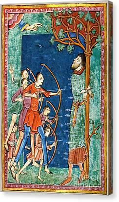 Martyr Canvas Print - Edmund The Martyr, King Of East Anglia by Photo Researchers