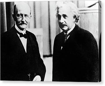 Einstein And Max Planck Canvas Print by Emilio Segre Visual Archives/american Institute Of Physics