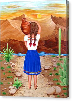 Canvas Print featuring the painting El Cantaro by Evangelina Portillo