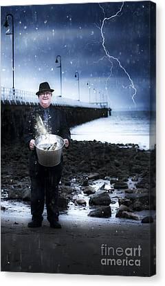 Elderly Fisherman Holding A Bucket Of Fish Canvas Print
