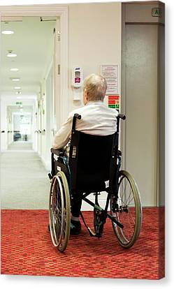 Elderly Man In A Wheelchair Canvas Print by John Cole
