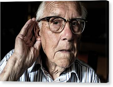 Elderly Man With Hearing Loss Canvas Print