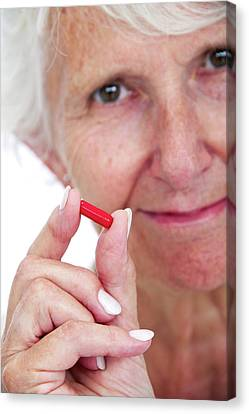 Elderly Woman With Medication Canvas Print