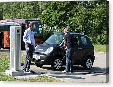 Electric Car And Charger Canvas Print by Ibm Research
