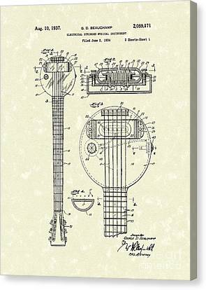 Electric Guitar 1937 Patent Art Canvas Print by Prior Art Design