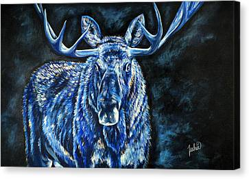 Electric Moose Canvas Print by Teshia Art