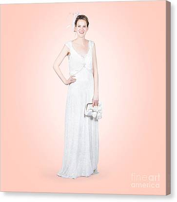 Elegant Bride In White Wedding Dress Canvas Print by Jorgo Photography - Wall Art Gallery
