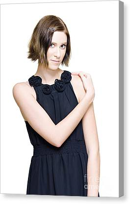 Elegant Fashion Model In Black Evening Dress Canvas Print by Jorgo Photography - Wall Art Gallery