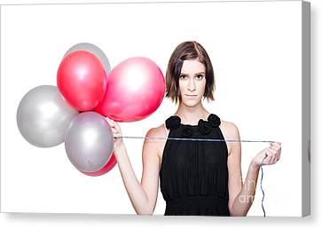 Elegant Woman Holding Balloons Canvas Print by Jorgo Photography - Wall Art Gallery