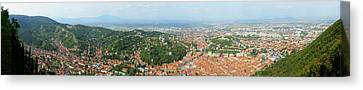 Romania Canvas Print - Elevated View Of A Town, Brasov, Brasov by Panoramic Images