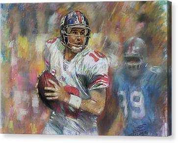 Eli Manning Nfl Ny Giants Canvas Print by Viola El
