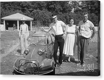 Elvis And His Messerschmitt With Vernon And Gladys Presley 1956 Canvas Print by The Harrington Collection