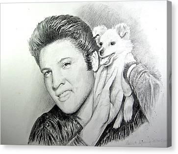 Canvas Print featuring the painting Elvis And Sweet Pea by Patricia Schneider Mitchell