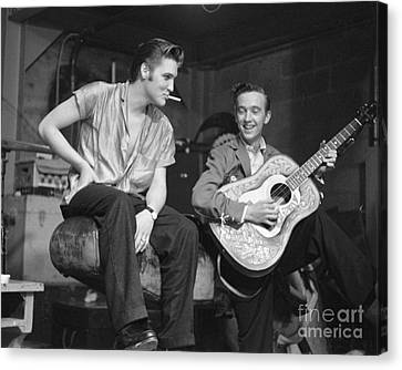 Elvis Presley And His Cousin Gene Smith 1956 Canvas Print