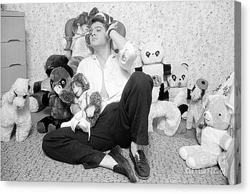 Elvis Presley At Home With Teddy Bears 1956 Canvas Print by The Harrington Collection