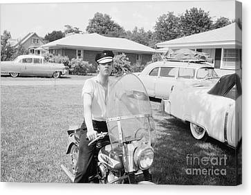 Rock Music Canvas Print - Elvis Presley Sitting On His 1956 Harley Kh by The Harrington Collection