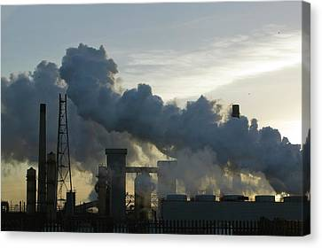 Emissions From The Corus Steelworks Canvas Print by Ashley Cooper