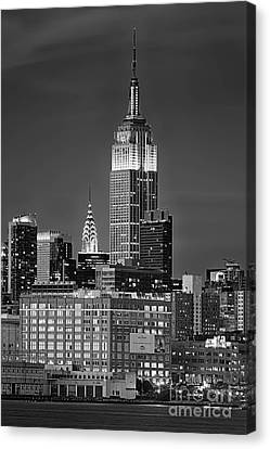 Empire And Chrysler Buildings Canvas Print by Jerry Fornarotto
