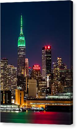 Canvas Print featuring the photograph Empire State Building On Saint Patrick's Day by Mihai Andritoiu