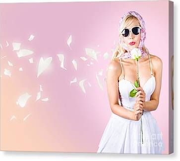 Enchanting Beauty Blowing A Soft Kiss Of Desire Canvas Print