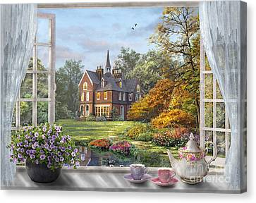 Window Canvas Print - English Garden by Dominic Davison