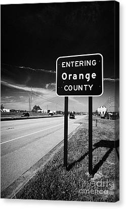 Entering Orange County On The Us 192 Highway Near Orlando Florida Usa Canvas Print by Joe Fox
