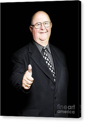 Enthusiastic Positive Senior Business Man Canvas Print by Jorgo Photography - Wall Art Gallery