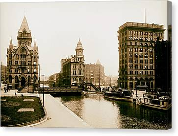 Erie Canal On Salina Street In Syracuse New York - Circa 1904 Canvas Print by Mountain Dreams