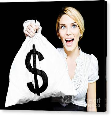 Unexpected Canvas Print - Euphoric Business Woman Holding Unexpected Windfall by Jorgo Photography - Wall Art Gallery
