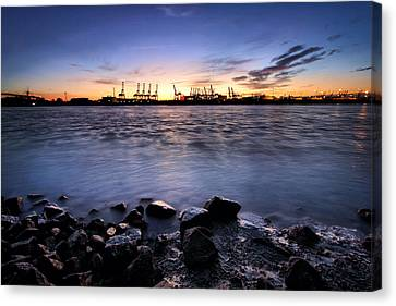 Canvas Print - Evening At The Port Of Hamburg by Marc Huebner