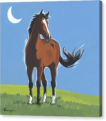 Evening Horse Square Version Canvas Print