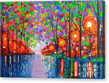 Evening In The Park Canvas Print by Mariana Stauffer