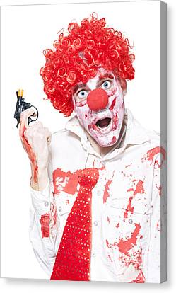 Evil Clown Holding Cap Gun On White Background Canvas Print by Jorgo Photography - Wall Art Gallery