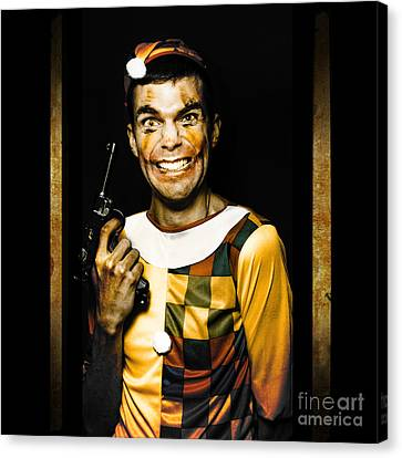 Evil Clown Holding Gun In Horror House Doorway Canvas Print