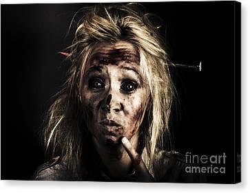 Evil Dead Female Zombie With Monster Headache Canvas Print