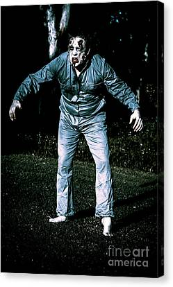 Evil Dead Horror Zombie Walking Undead In Cemetery Canvas Print