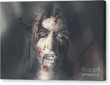 Evil Dead Vampire Woman Looking In Bloody Window Canvas Print by Jorgo Photography - Wall Art Gallery