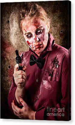 Evil Demented Zombie Holding Hand Gun. Robbery Canvas Print by Jorgo Photography - Wall Art Gallery