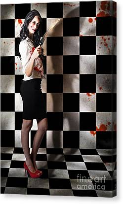 Pruning Canvas Print - Evil Malicious Zombie Girl With Bloody Pruning Saw by Jorgo Photography - Wall Art Gallery