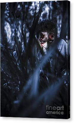 Evil Man Hiding In Silence At Dark Forest  Canvas Print by Jorgo Photography - Wall Art Gallery