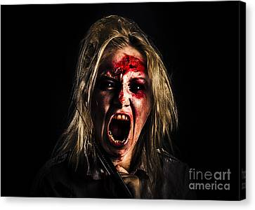Evil Zombie Girl Screaming Out In Bloody Horror Canvas Print by Jorgo Photography - Wall Art Gallery