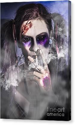 Evil Zombie Schoolgirl Smoking Cigarette Canvas Print