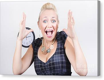 Excited Business Woman Screaming Out In Success Canvas Print by Jorgo Photography - Wall Art Gallery