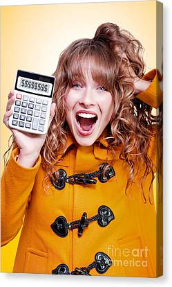 Frenzy Canvas Print - Excited Winter Woman Holding Savings Calculator by Jorgo Photography - Wall Art Gallery