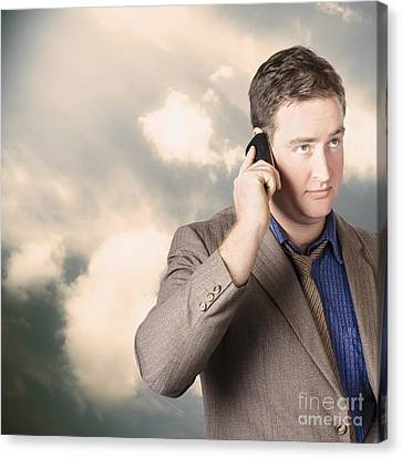 Executive Business Man On Cell Phone Outdoors Canvas Print by Jorgo Photography - Wall Art Gallery